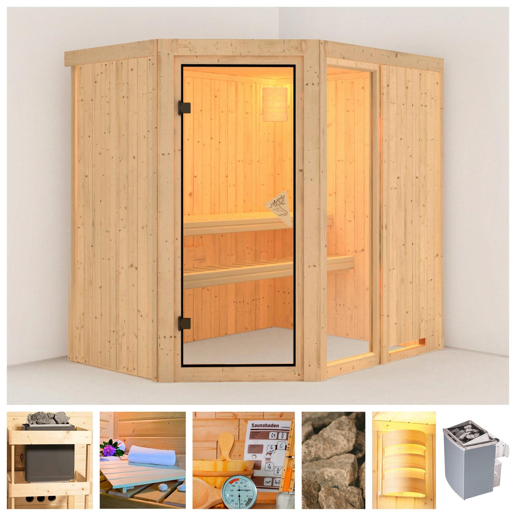 Konifera sauna »Fiona 1«, 196/151/198 cm, 68 mm, 9-kW-Ofen mit int. Steuerung nu online kopen bij OTTO