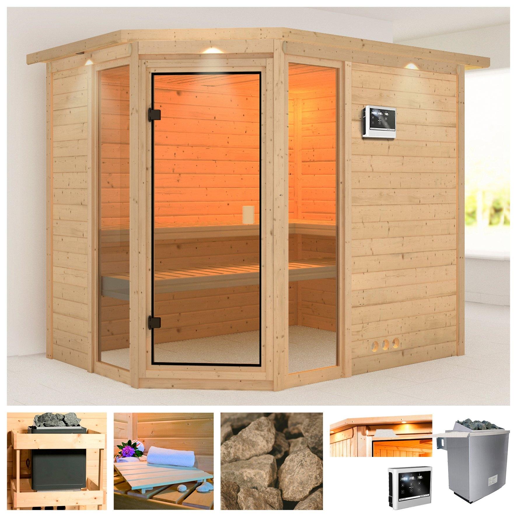 Karibu sauna »Sinai 3«, 264x198x212 cm, 9 kW Ofen mit ext. Steuerung, Dachkranz bestellen: 30 dagen bedenktijd