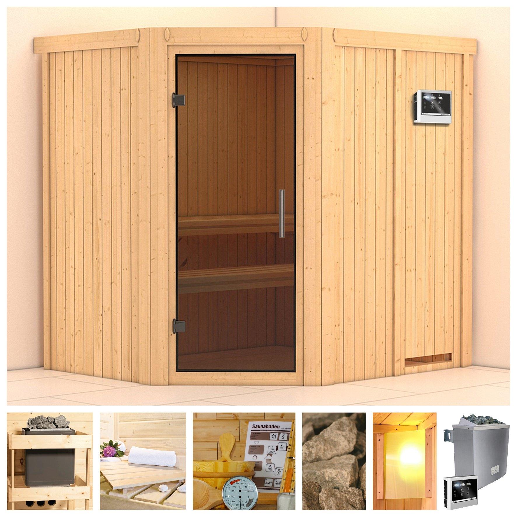 KONIFERA sauna »Siirin«, 196/170/198 cm, 9-kW-Ofen mit ext. Steuerung, Glastür grafit nu online kopen bij OTTO