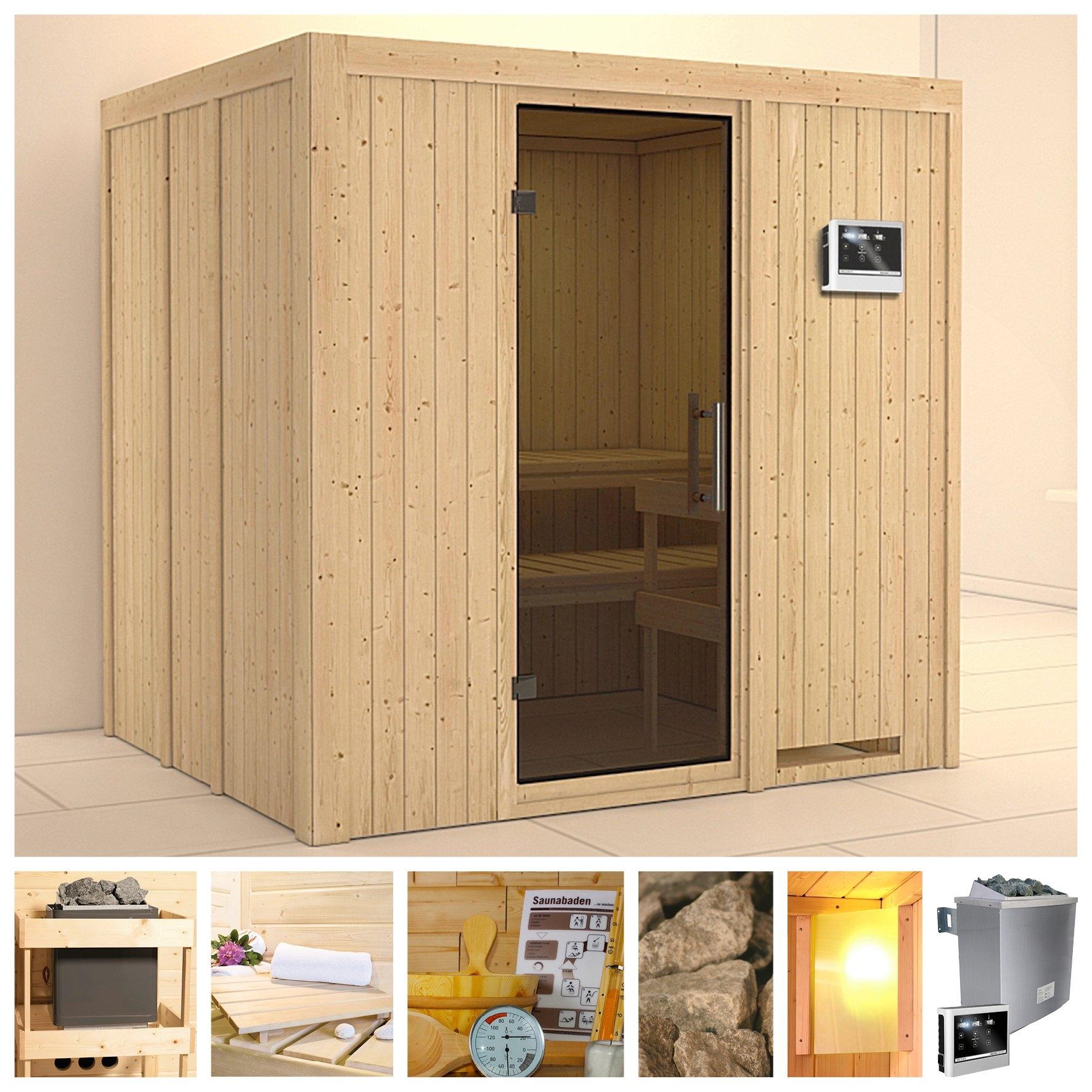 KONIFERA sauna »Sodin«, 196/170/198 cm, 9-kW-Ofen mit ext. Steuerung, Glastür grafit bij OTTO online kopen