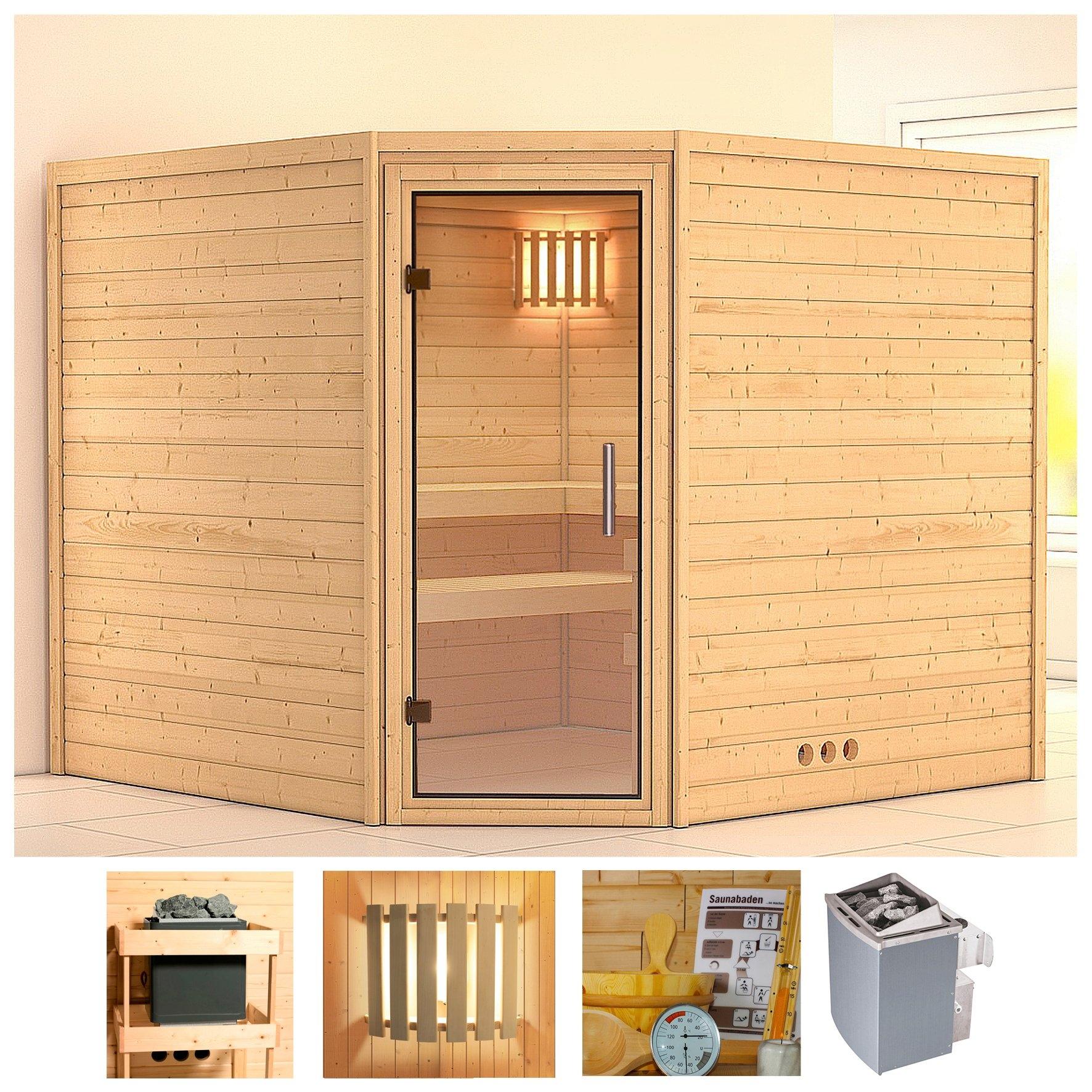 KONIFERA sauna »Leona«, 231/231/200 cm, 9-kW-Ofen mit int. Steuerung, Glastür klar bestellen: 30 dagen bedenktijd