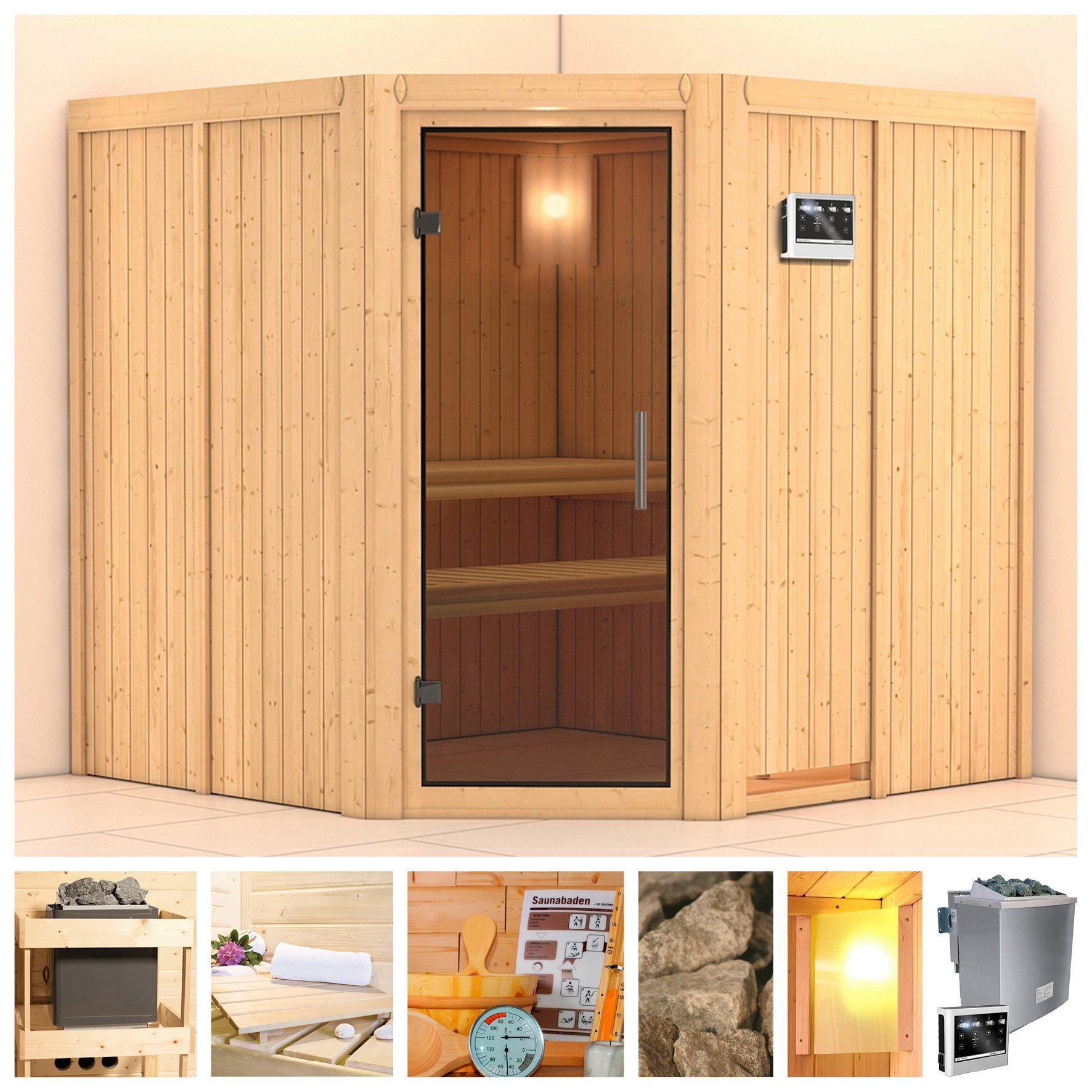 KONIFERA sauna »Jarin«, 196/196/198 cm, 9-kW-Bio-Ofen mit ext. Strg., Glastür grafit nu online kopen bij OTTO