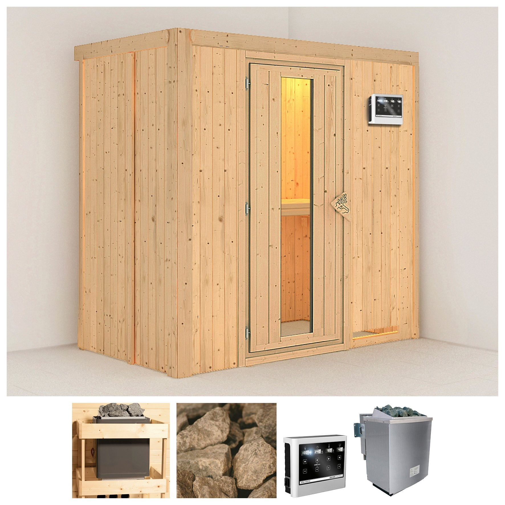 KONIFERA sauna »Variado«, 196/118/198 cm, 9-kW-Bio-Ofen mit ext. Strg., Holztür bestellen: 30 dagen bedenktijd
