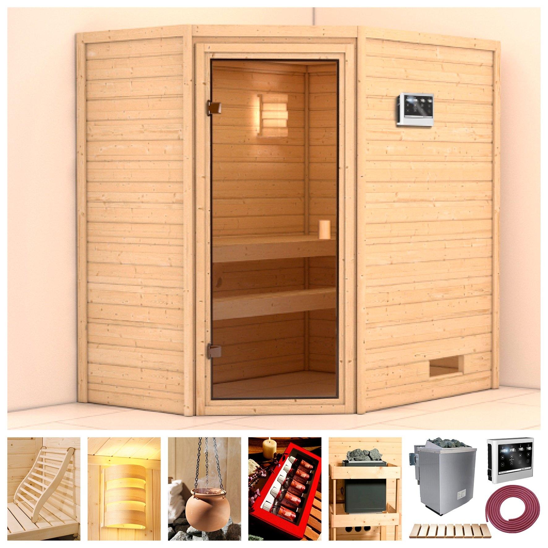 Karibu sauna »Langeoog«, 196x146x198 cm, 9 kW Bio-Kombiofen mit ext. Steuerung - gratis ruilen op otto.nl