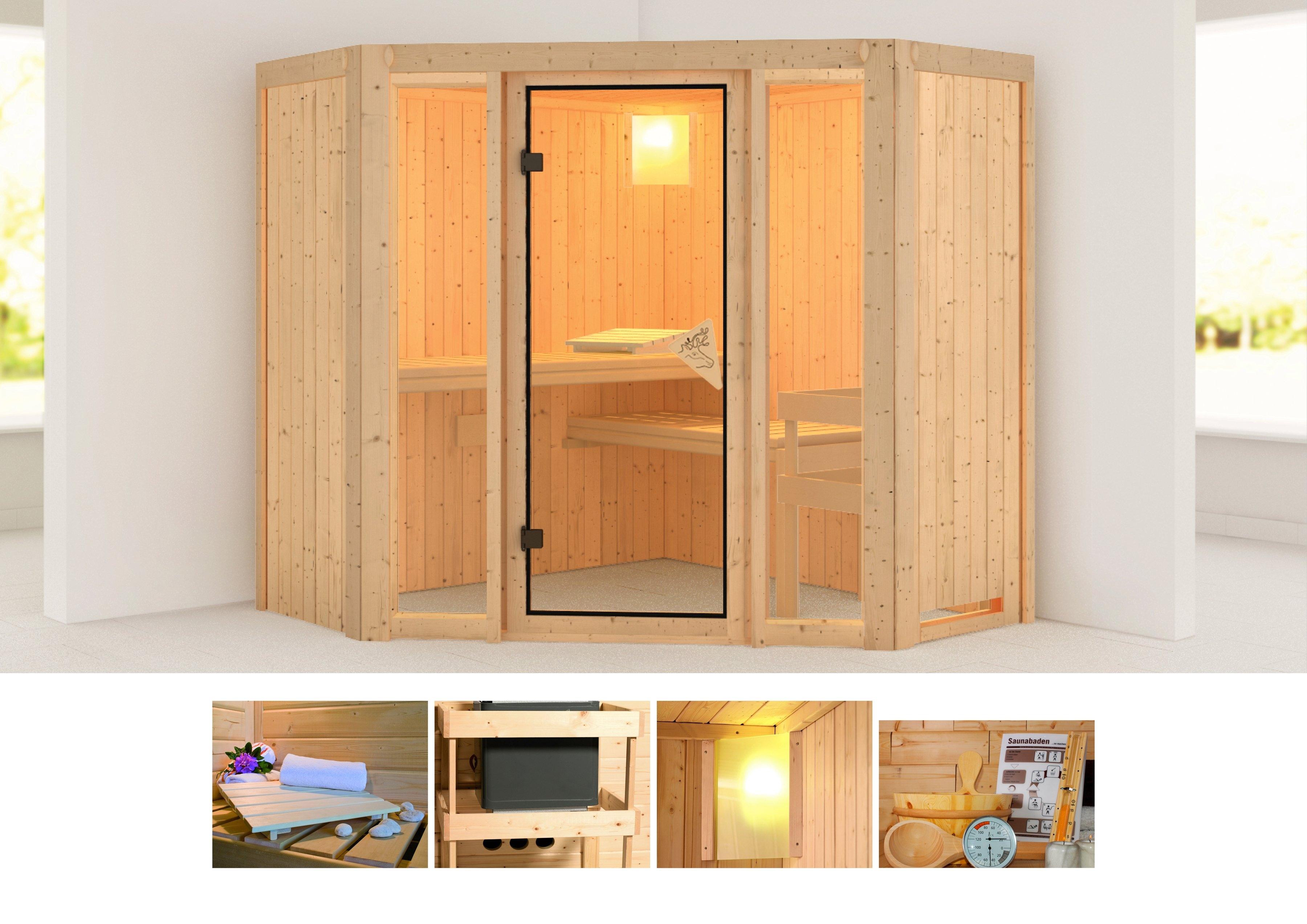 Karibu sauna »Flora 1«, 196x196x198 cm, ohne Ofen bestellen: 30 dagen bedenktijd