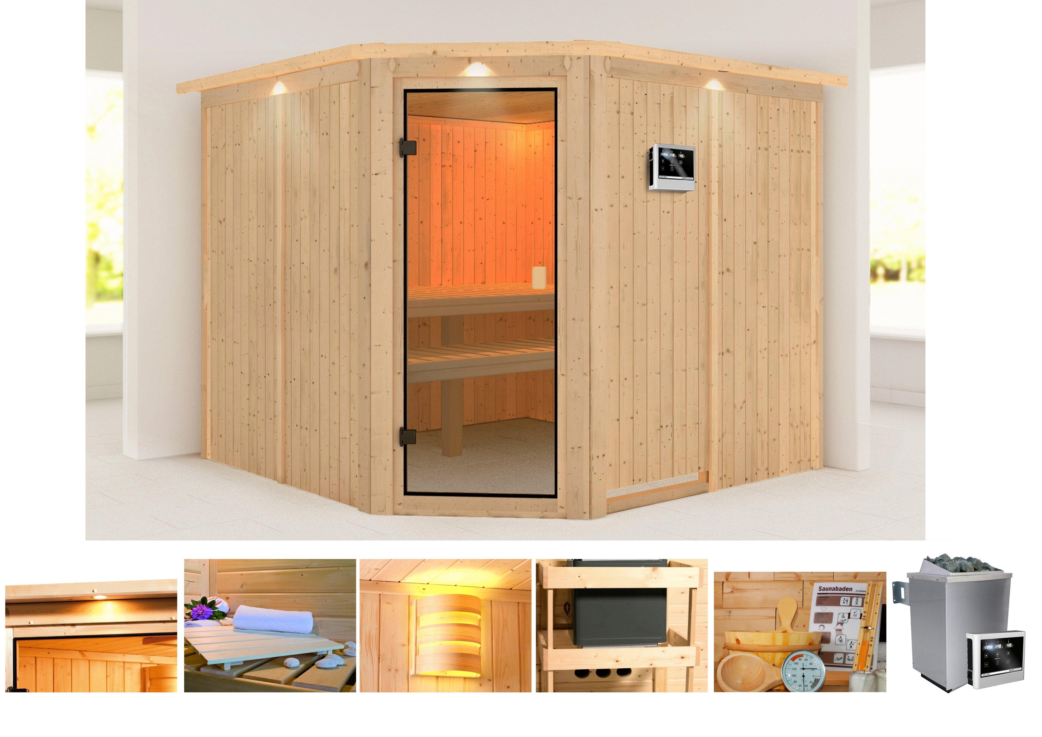 KONIFERA sauna »Manuela«, 231/231/198 cm, 9-KW-Ofen mit ext. Steuerung nu online kopen bij OTTO