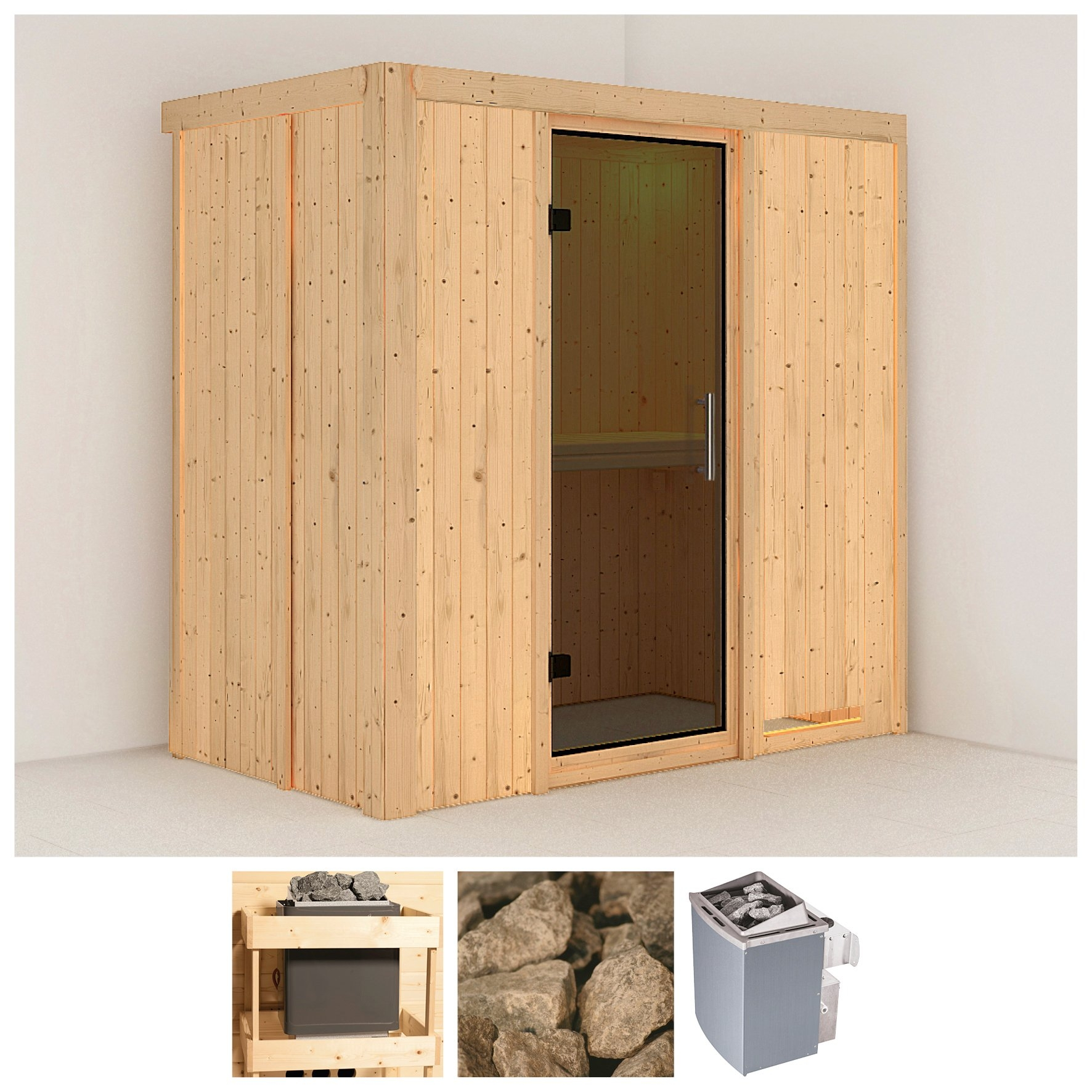 KONIFERA sauna »Variado«, 196/118/198 cm, 9-kW-Ofen mit int. Steuerung, Glastür grafit online kopen op otto.nl