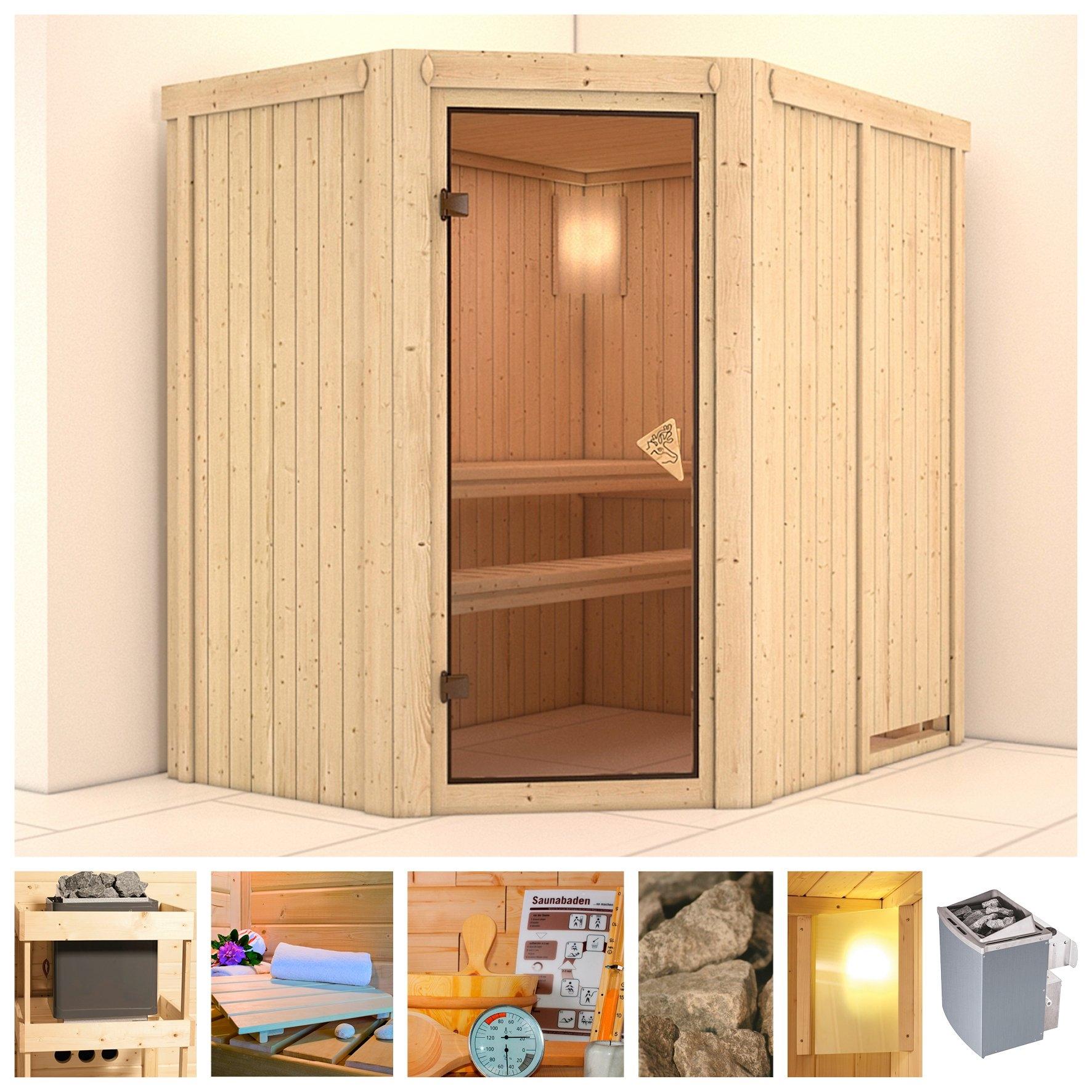 KONIFERA sauna »Carin«, 196x151x198 cm, 9 kW Ofen mit int. Steuerung bij OTTO online kopen