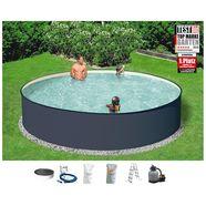 konifera rond zwembad »set: rond zwembad antraciet met veiligheidstrap en zandfilterinstallatie (6-dlg.)« grijs