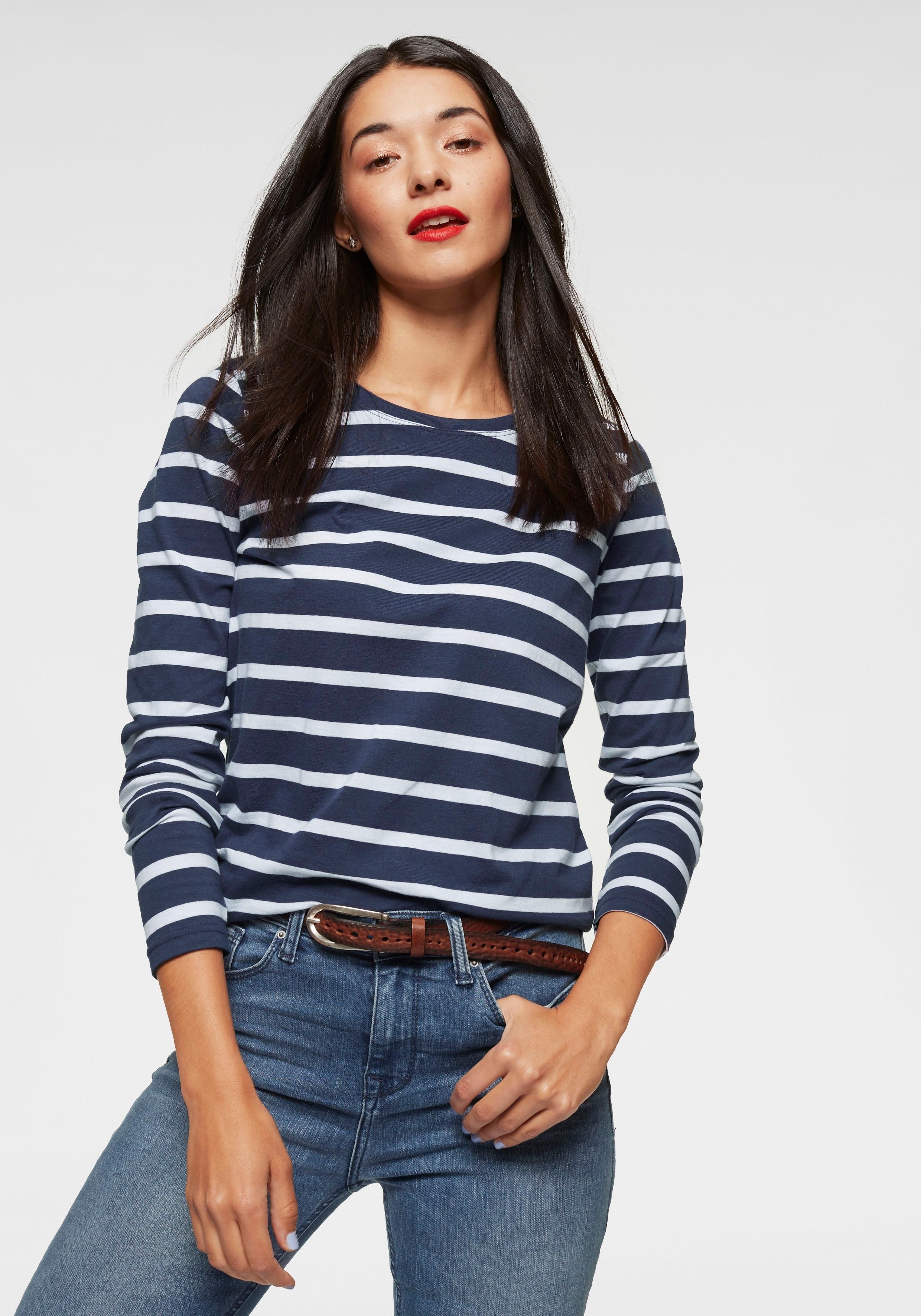 AJC Shirt met lange mouwen in een trendy streep-look - verschillende betaalmethodes