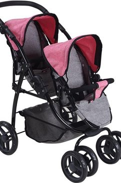 knorrtoys poppen-duobuggy milo - jeans grey roze