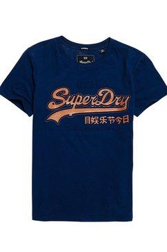 superdry t-shirt »vintage logo glitter emboss entry tee« blauw