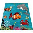 paco home vloerkleed voor de kinderkamer ece 950 korte pool, kinderen vloerkleed, onderwaterwereld, kinderkamer blauw