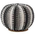 home affaire poef zebra met een mooie bekleding van weefstof, onderblad van massief mangohout zwart