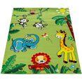 paco home vloerkleed voor de kinderkamer ece 958 korte pool met leuk dierentuin dieren design, kinderkamer groen