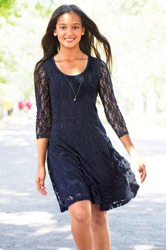 arizona kanten jurk met 3-4-mouwen blauw