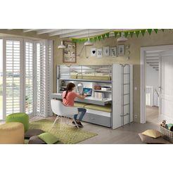 vipack hoogslaper met mdf, bureau en 3 slaapmogelijkheden »bonn« grijs