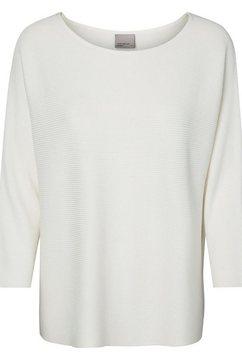 vero moda trui met ronde hals »vmnora« wit