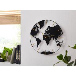 home affaire wandklok wereldkaart rond, oe 40 cm, van metaal zwart