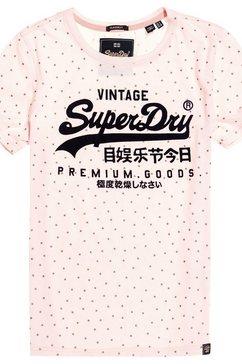 superdry t-shirt »premium goods shimmer aop entry tee« roze