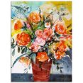 artland print op glas rozen in bruine vaas (1 stuk) oranje