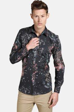 shirtmaster hemd met lange mouwen »noflowersplease« zwart