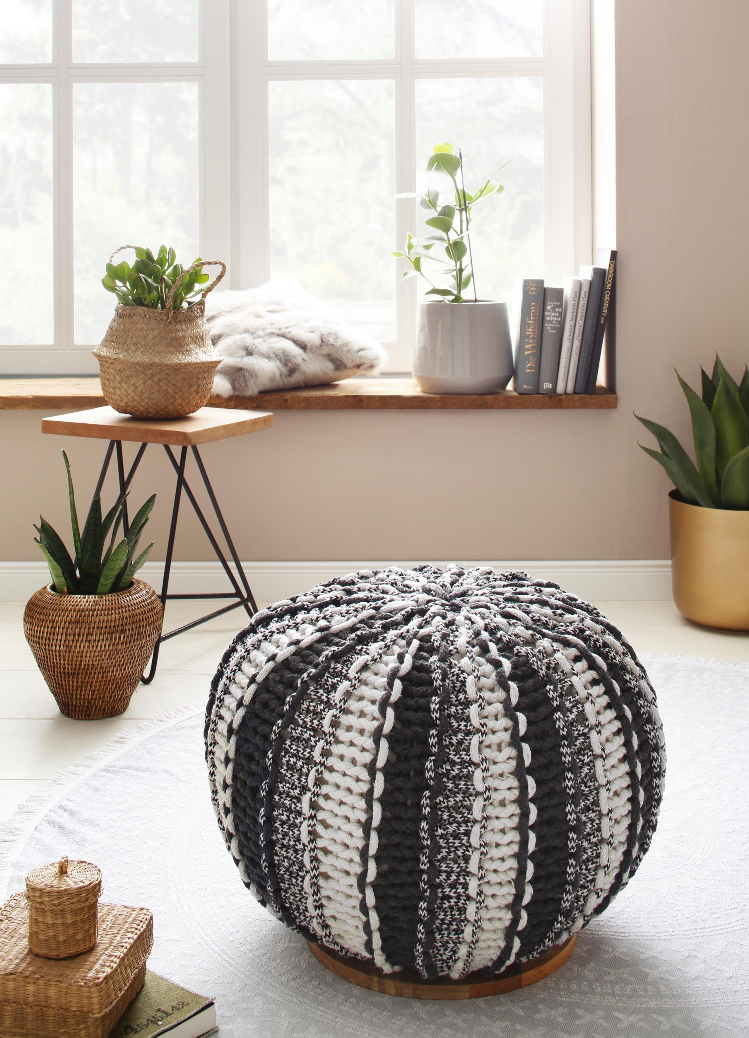 Home affaire poef Zebra met een mooie bekleding van weefstof, onderblad van massief mangohout nu online bestellen