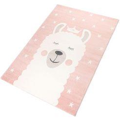 vloerkleed voor de kinderkamer, »lama«, rechthoekig, hoogte 12 mm, machinaal geweven roze