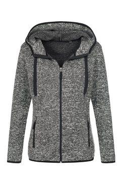 stedman fleecejack outdoor knitted in gebreide look (1 stuk) grijs