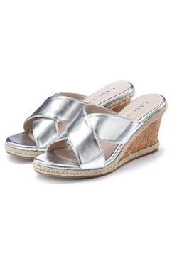 lascana slippers met hoge hak met sleehak in metallic-look zilver