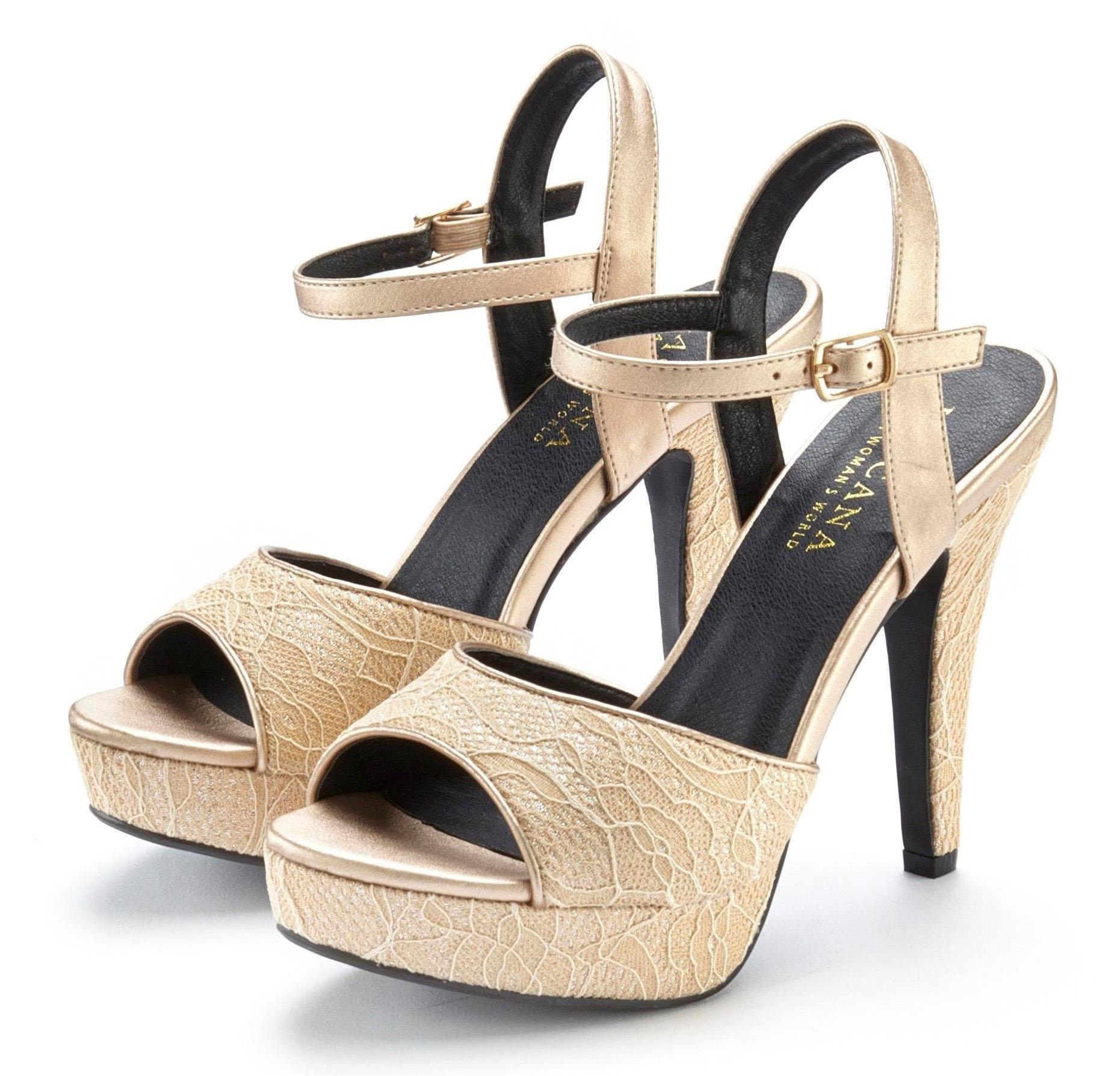 Lascana highheel sandaaltjes met geraffineerde kanten details voordelig en veilig online kopen