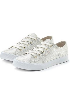 lascana sneakers met glitter en animal-stempeldruk zilver