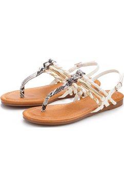 lascana sandaaltjes in kroko-look beige