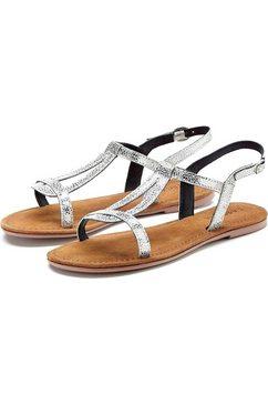 lascana sandalen van leer in metallic-look zilver