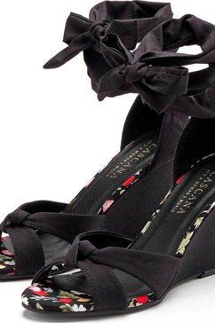 lascana highheel sandaaltjes met sleehak en aantrekkelijke vetersluiting zwart
