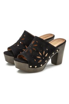 lascana slippers met uitsparingen en blokhak zwart