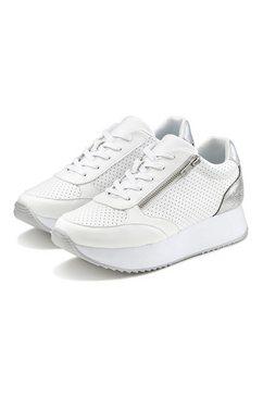 lascana sneakers plateau met metallic-inzetten en trendy zool wit