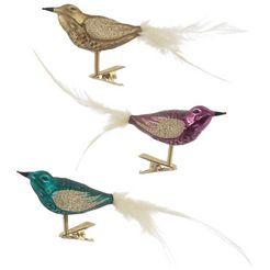 thueringer glasdesign kerstboomversiering op clip christmas chic vogels (set, 3-delig) multicolor