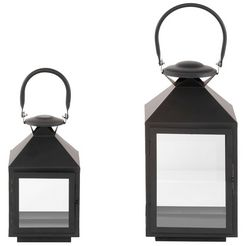 home affaire lantaarn hoogte 24 en 35 cm (set, 2 stuks) grijs