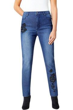 lady jeans met decoratieve borduursels blauw