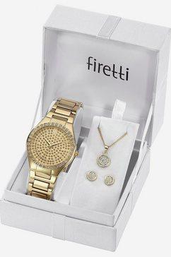 firetti kwartshorloge »tla-91305-set« (horloge met 2 oorstekers en ketting met karabijnhanger) goud