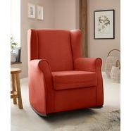 home affaire schommelstoel warin met mooie luxe-microvezel overtrekstof en houten poten, zithoogte 48 cm oranje