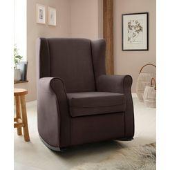 home affaire schommelstoel warin met mooie luxe-microvezel overtrekstof en houten poten, zithoogte 48 cm bruin
