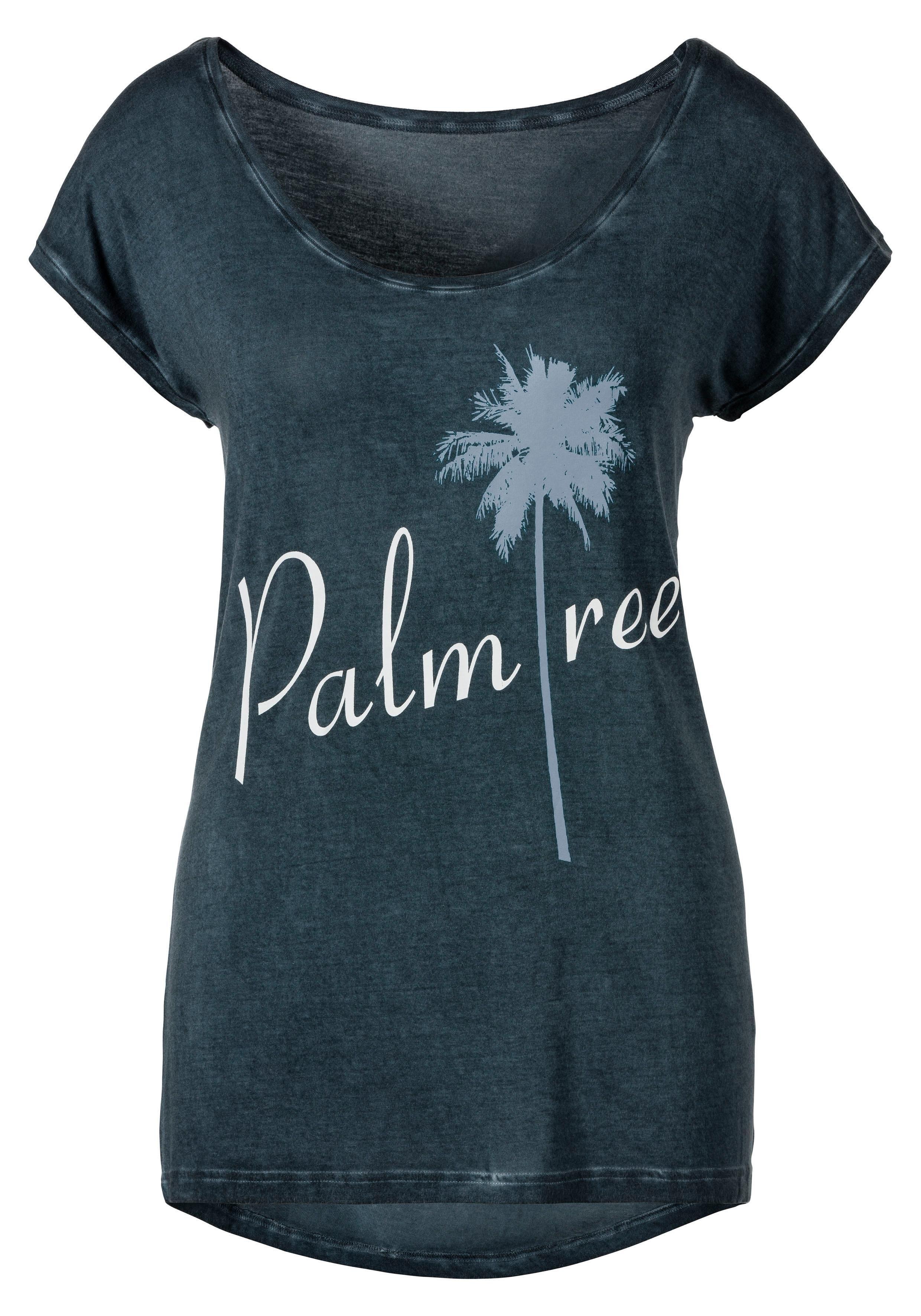 Beachtime T-shirt met quote-frontprint