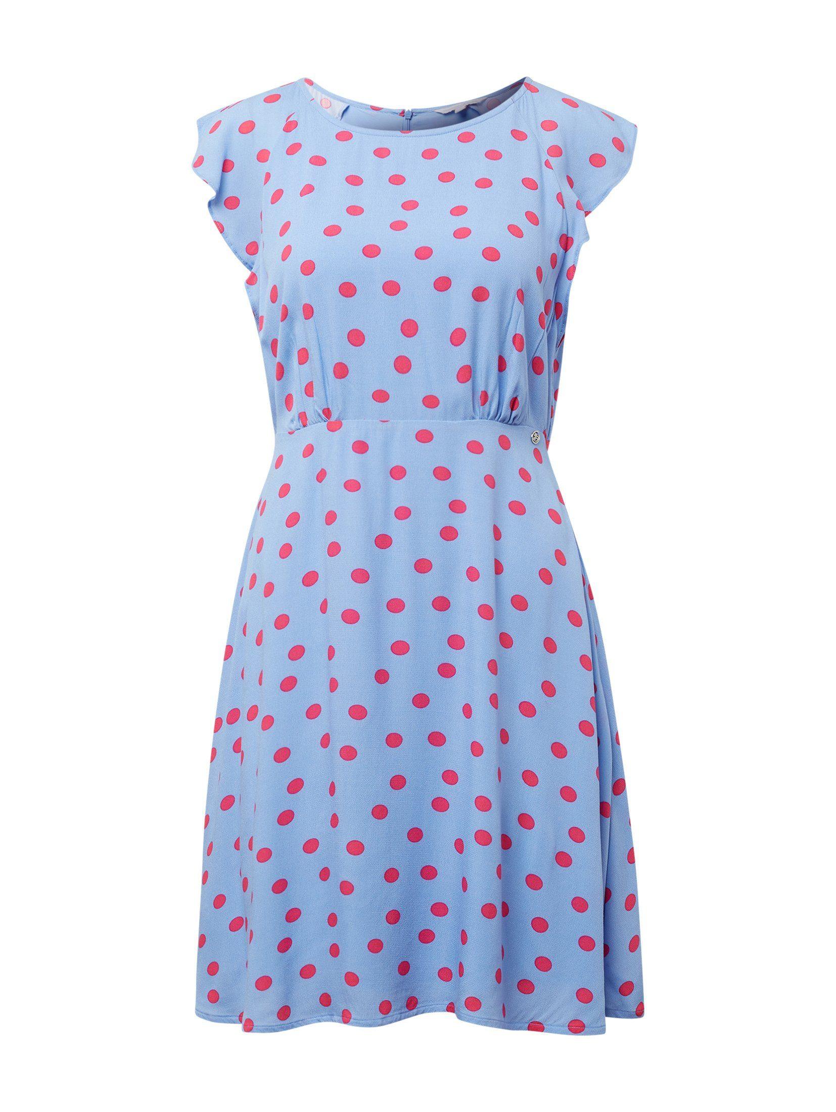 gestreepte blousejurk met stippen blauw