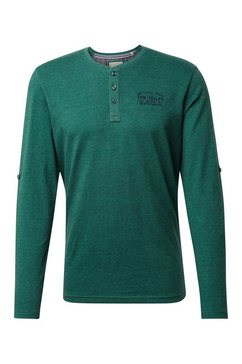 tom tailor shirt met lange mouwen »henleyshirt met lange mouwen en logoborduursel« groen