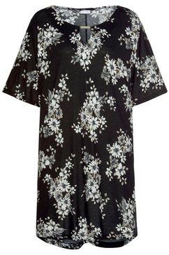 lascana lang shirt met stijlvolle bloemenprint zwart