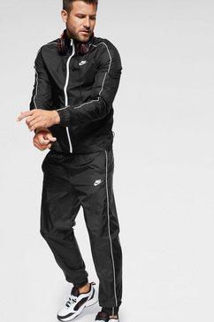 nike sportswear joggingpak »m nsw ce trk suit wvn basic« (2-delige set) zwart