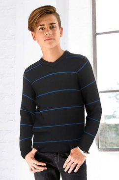 kidsworld gestreepte trui met v-hals zwart