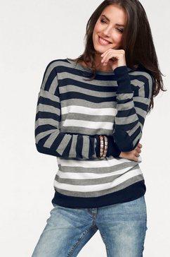 aniston casual trui met ronde hals met korte sierknoopsluiting aan de achterkant blauw